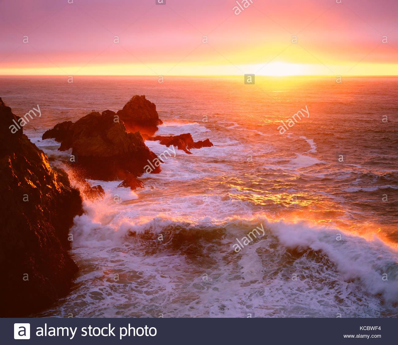 Coastal Sunset and Wave,Phillip Burton Wilderness,Point Reyes National Seashore, California - Stock Image