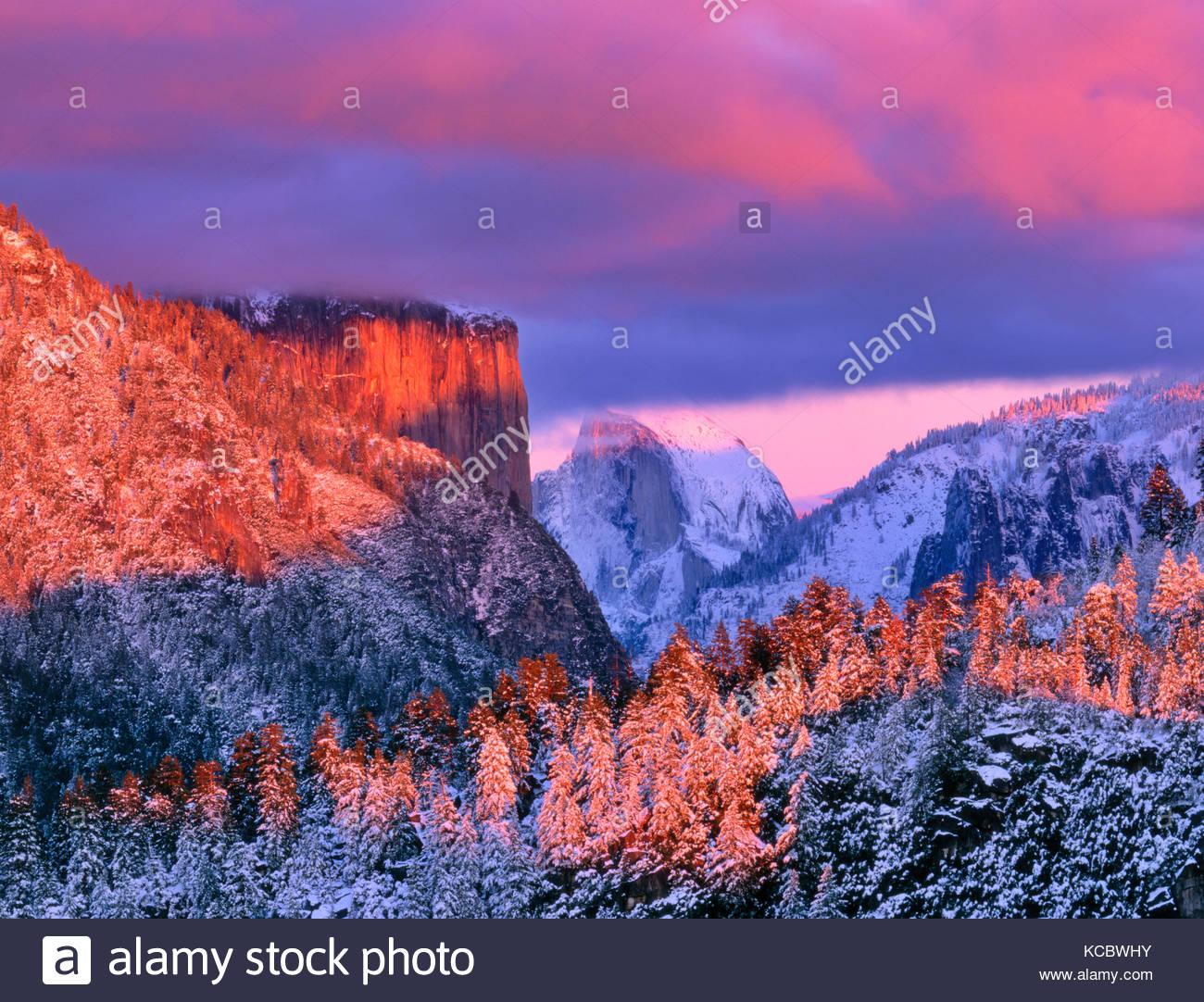 El Capitan and Half Dome  at Sunset,Yosemite National Park, California - Stock Image