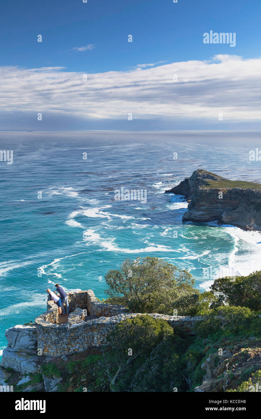 Tourists at Cape Point, Cape Point National Park, Cape Town, Western Cape, South Africa - Stock Image