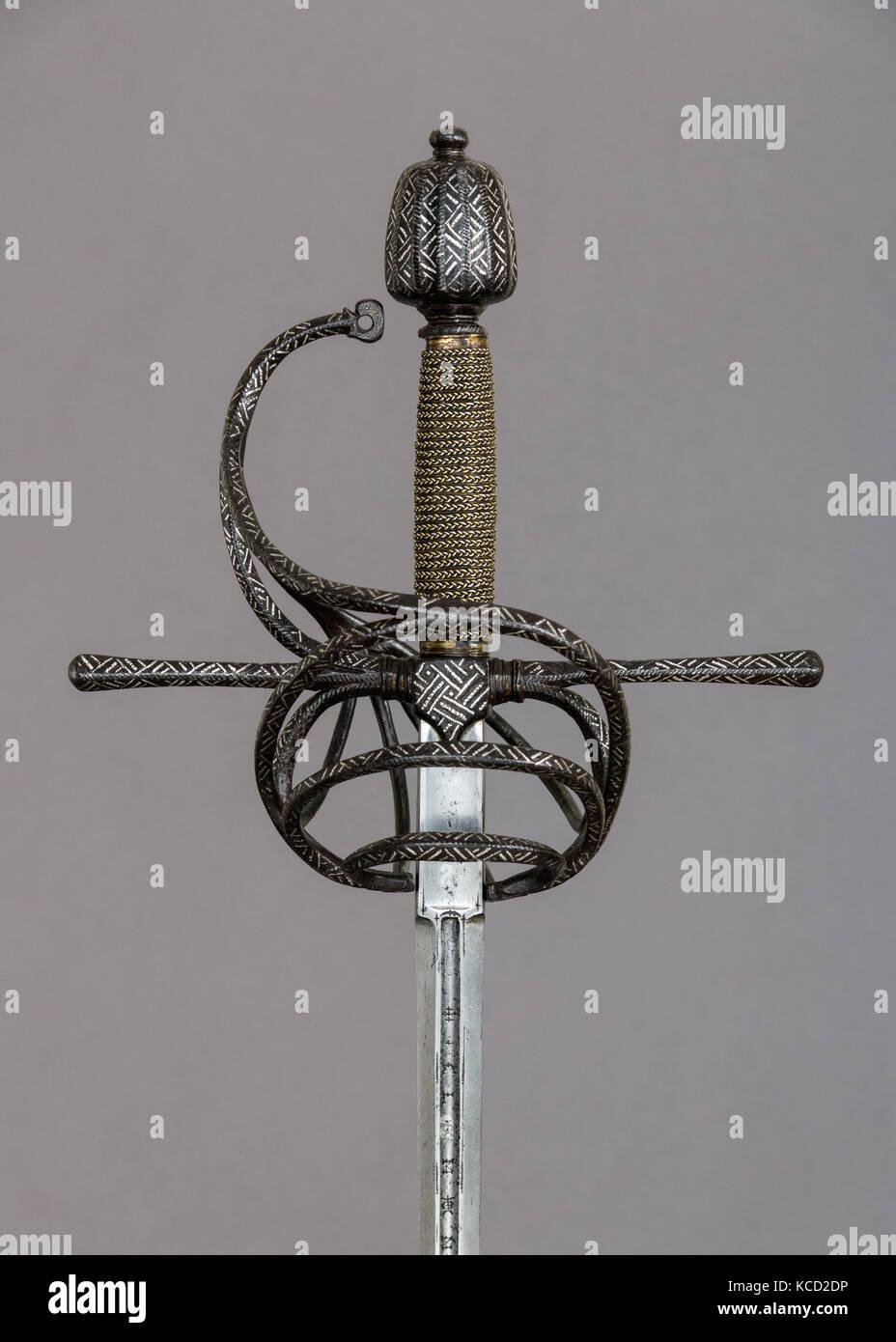 Rapier, ca. 1625, hilt, Italian; blade, German, Solingen, Steel, silver, wood, copper alloy, L. 49 1/2 in. (125.7 - Stock Image