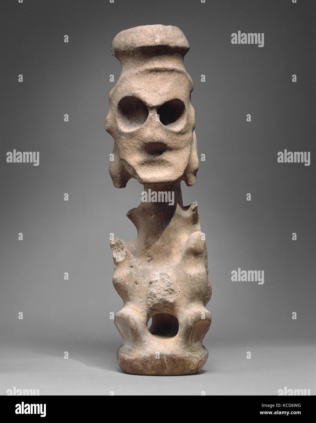 Deity Figure (Zemí), 13th–15th century, Dominican Republic (?), Caribbean, Taino, Sandstone, H. 27 x W. 6 7/8 - Stock Image