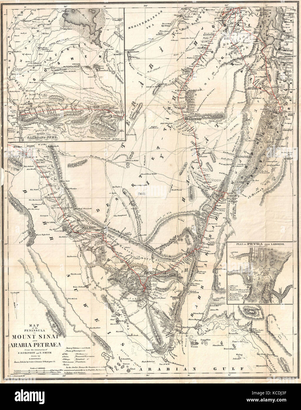 1856 Kiepert Map Of The Sinai Peninsula Egypt Stock Photo