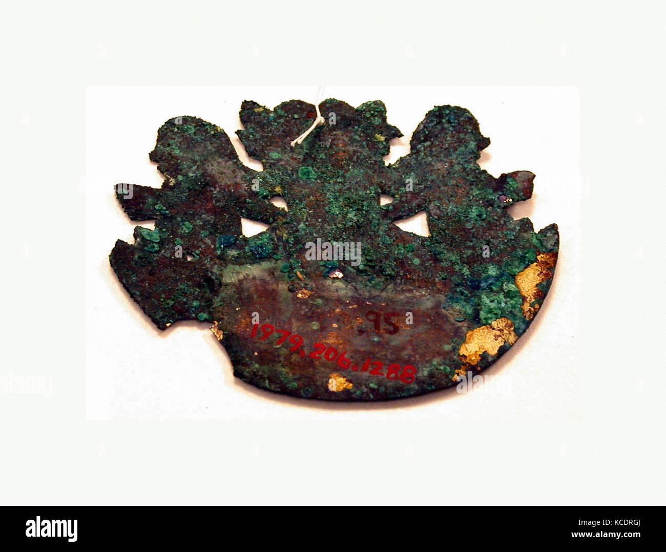 Crescent Ornament, 390–450, Peru, Moche (Loma Negra), Silvered copper, H. 2 7/16 x W. 3 in. (6.3 x 7.6 cm), Metal - Stock Image