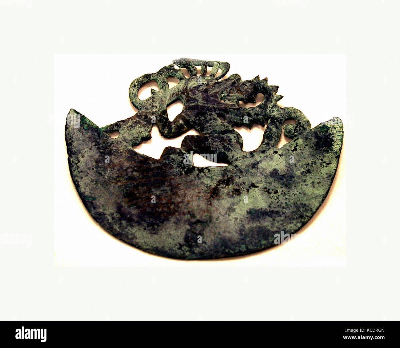 Crescent Ornament, 390–450, Peru, Moche (Loma Negra), Gilded copper, H. 3 9/16 x W. 4 1/8 in. (9 x 10.5 cm), Metal - Stock Image