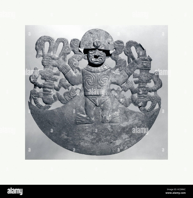 Animal Ornament, 390–450, Peru, Moche (Loma Negra), Gilded copper, H. 6 5/16 x W. 6 3/4 in. (16 x 17.2 cm), Metal - Stock Image