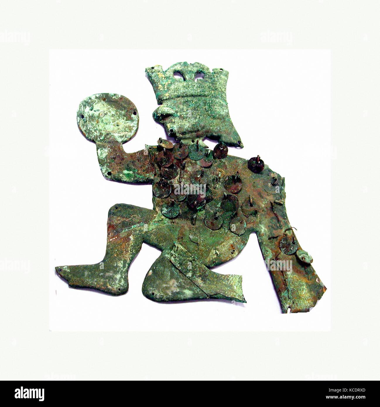 Profile Warrior Ornament, 390–450, Peru, Moche (Loma Negra), Silvered copper, Height 9-7/8 in. (25 cm), Metal-Ornaments - Stock Image