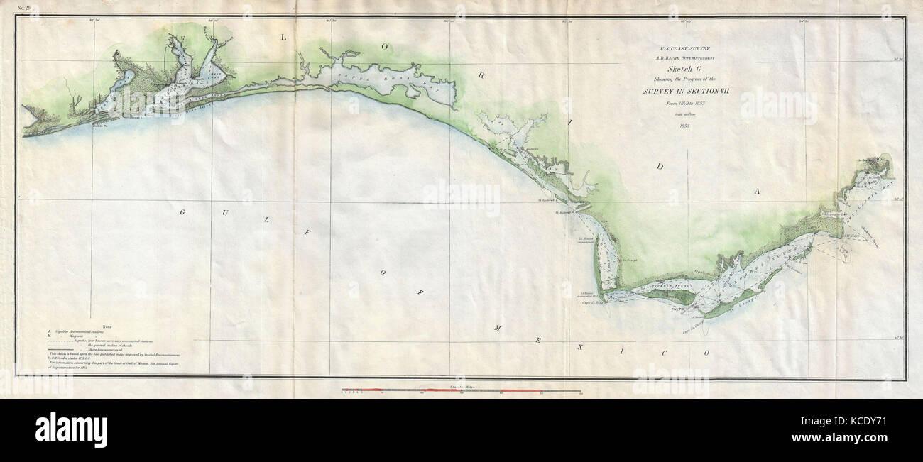 1853, U.S. Coast Survey Map of the Western Florida Panhandle Stock ...