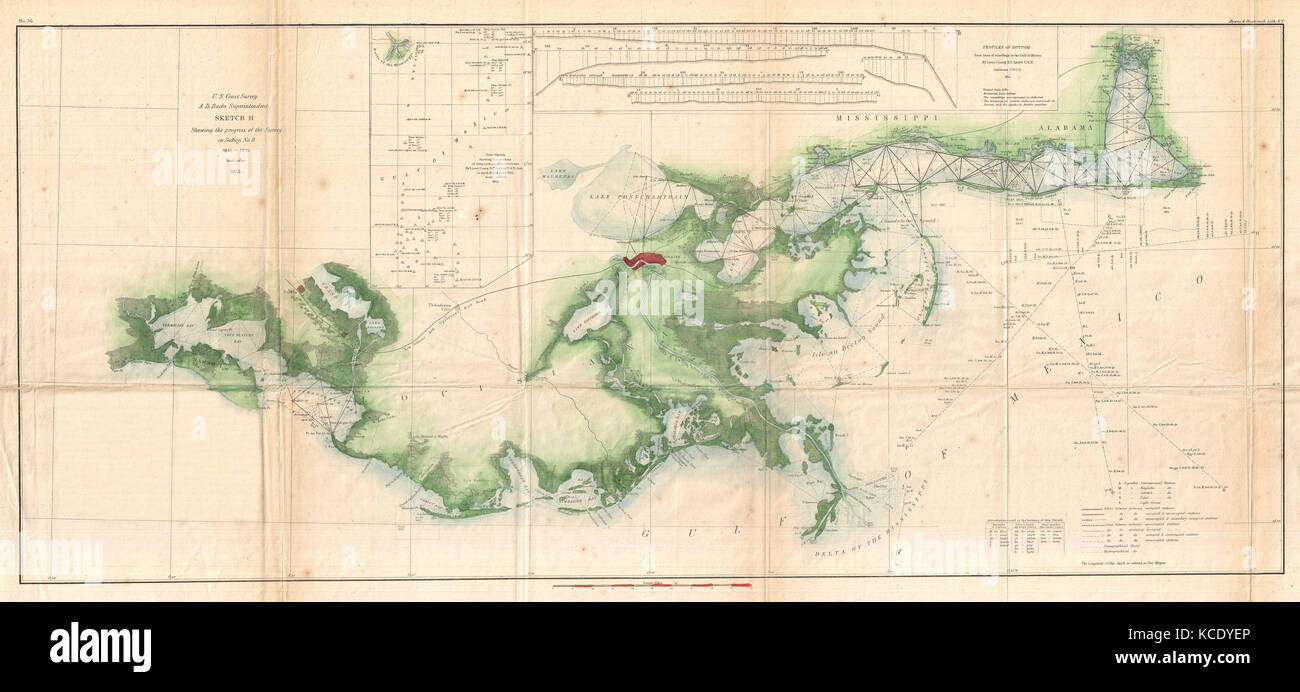 1855, U.S. Coast Survey Map of the Delta of the Mississippi River ...