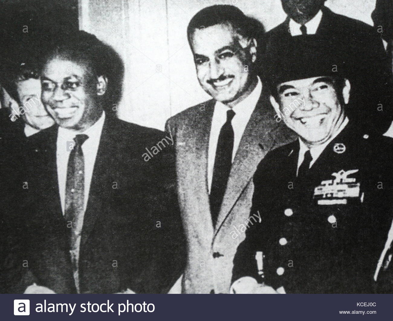 Left to right: Non-Aligned movement meeting with Ghana's Kwame Nkrumah, Egypt's Gamal Nasser and Indonesia's - Stock Image