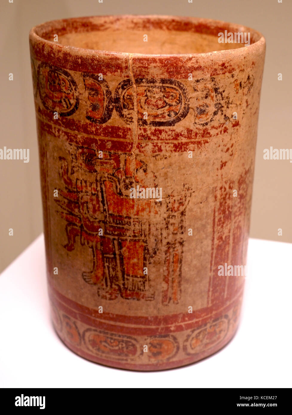 Ceramic cylindrical polychrome vessel from Honduras. Dated 8th Century BC - Stock Image