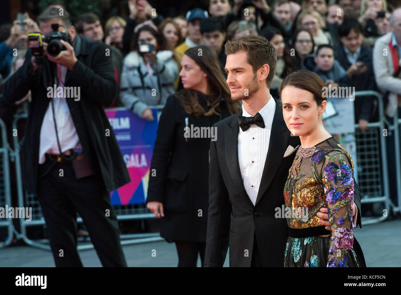 London, UK. 4th October 2017. Claire Foy and Andrew Garfield arrive for the UK film premiere of Breathe at Odeon - Stock Image