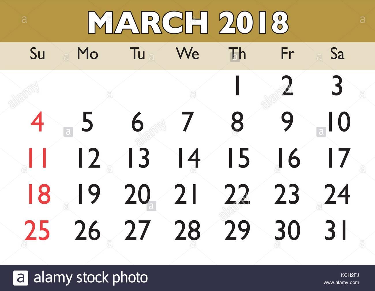 2018 calendar march month vector printable calendar monthly scheduler week starts on sunday english calendar
