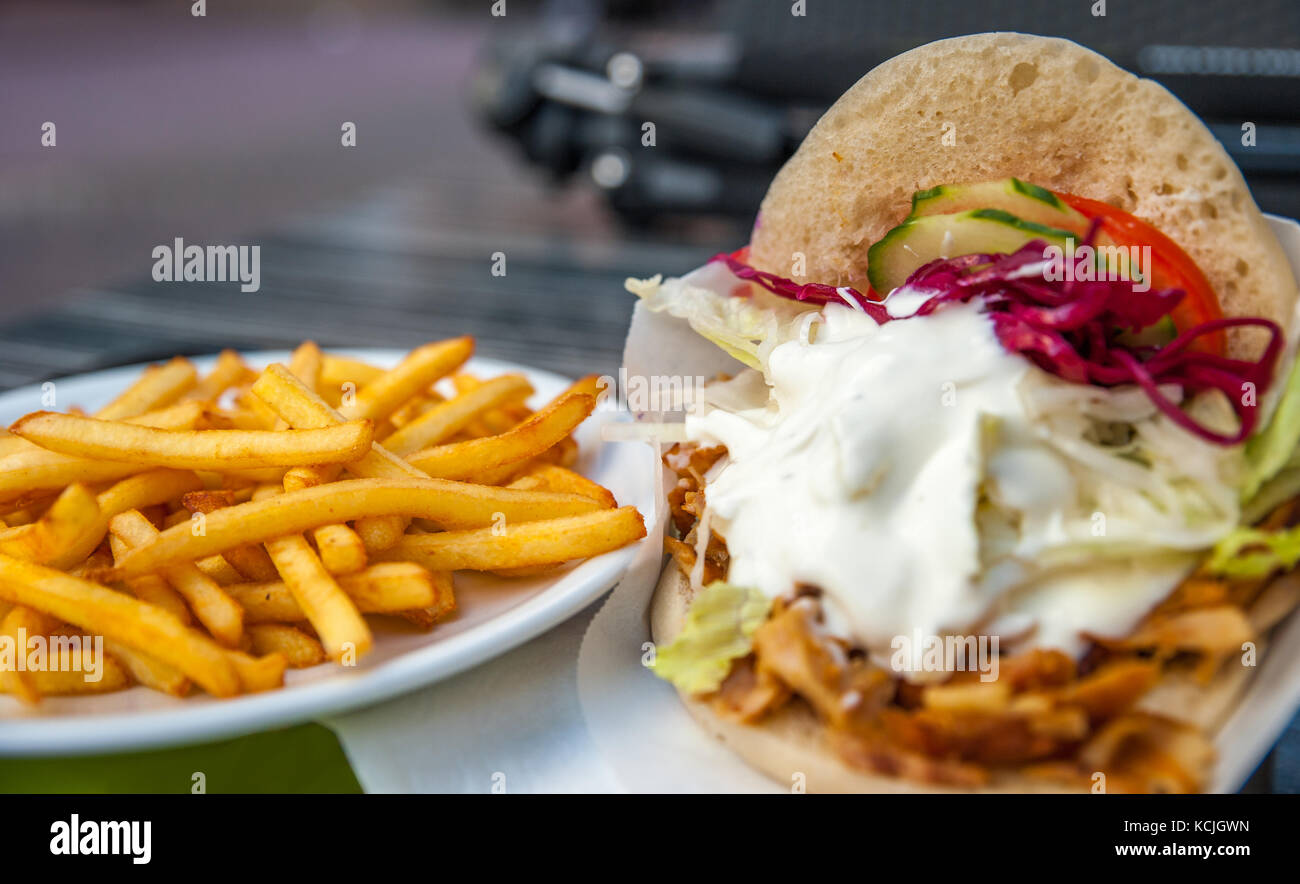 Turkish doner kebab with french fries Stock Photo