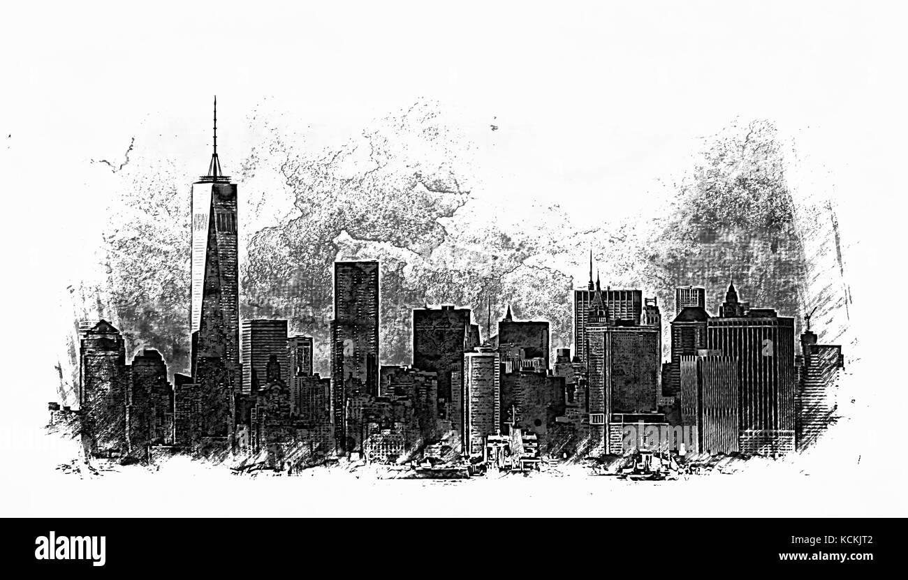 new york city sketch stock photo 162701058 alamy