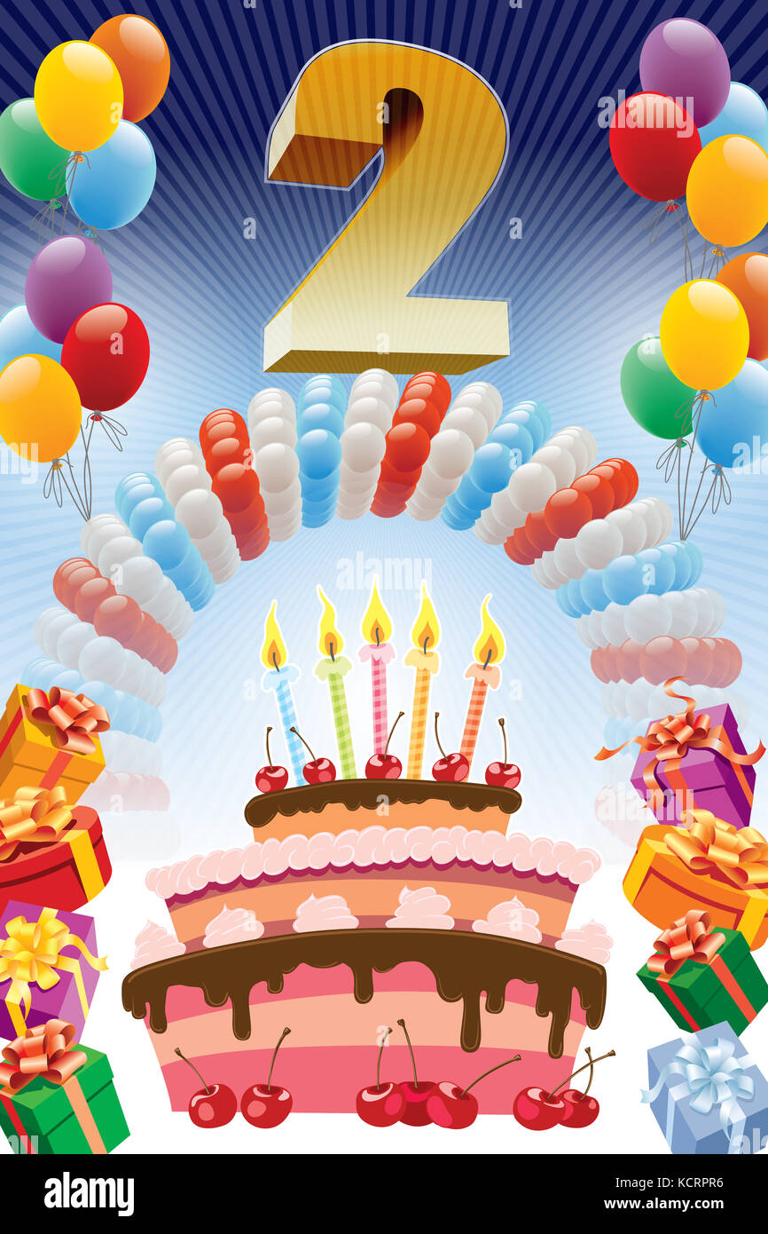 Background With Design Elements And The Birthday Cake Poster Or Invitation For 2nd Anniversary