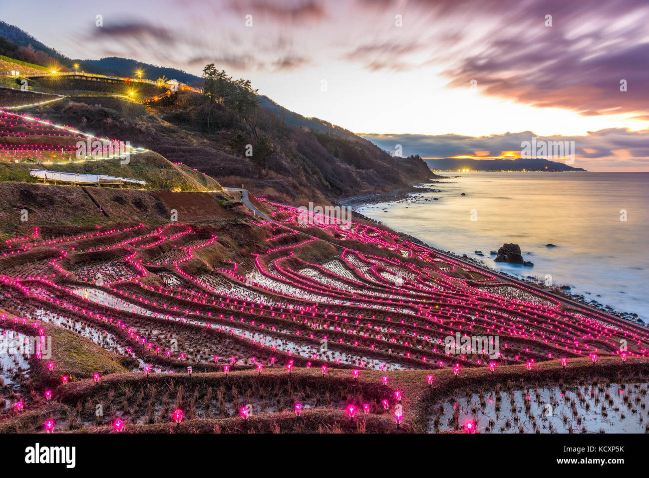 Wajima, Japan at Shiroyone Senmaida rice terraces night light up. - Stock Image