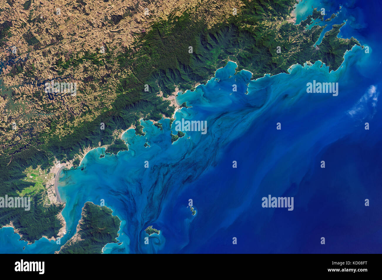 satellite image of São Paulo and the Atlantic Ocean, Brazil - Stock Image