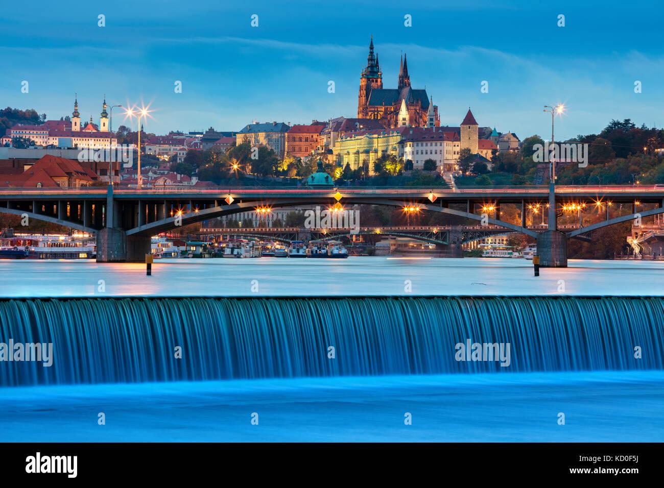 Prague. Image of Prague, capital city of Czech Republic, during twilight blue hour. - Stock Image