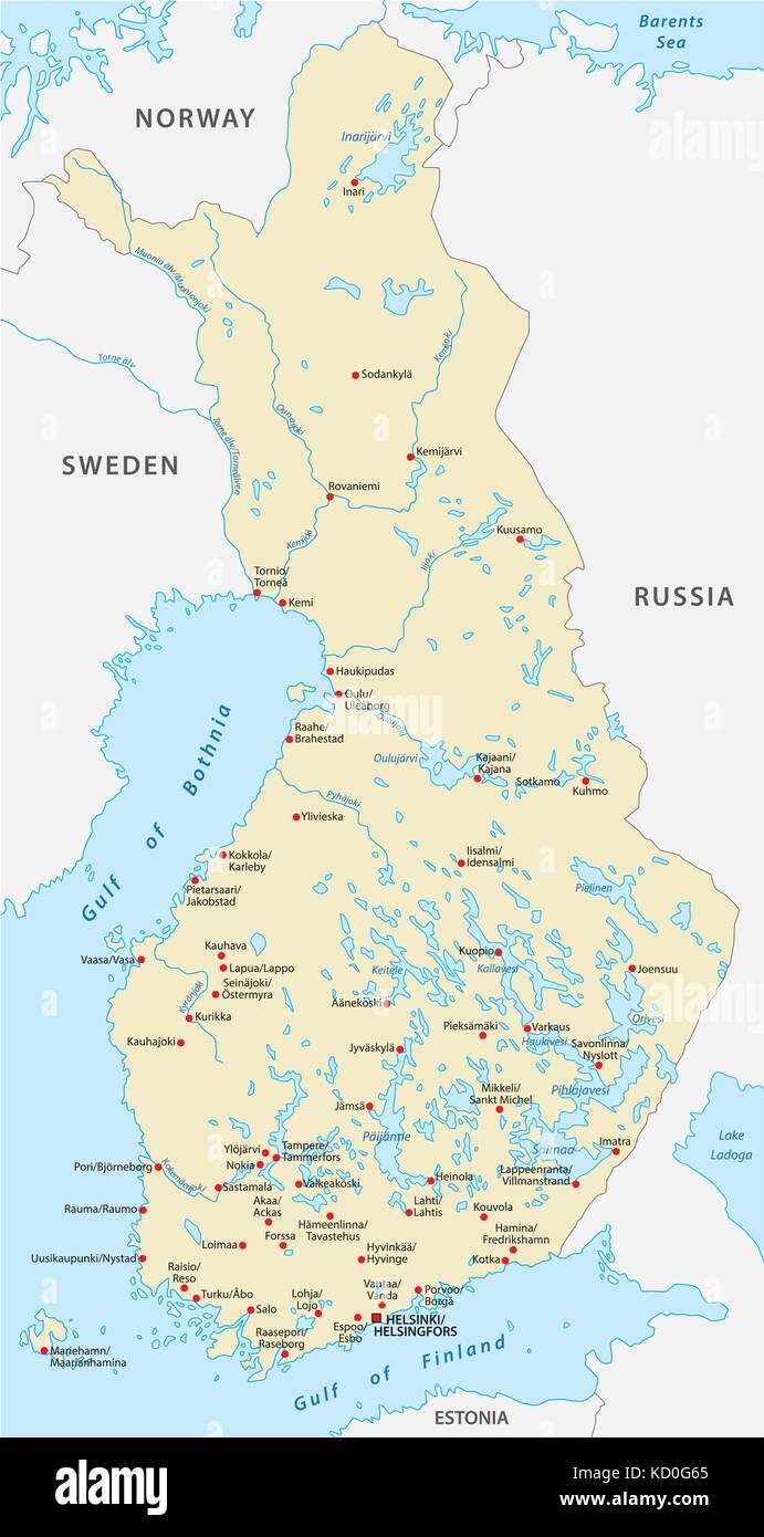 Vector map of the republic of finland Stock Vector Art