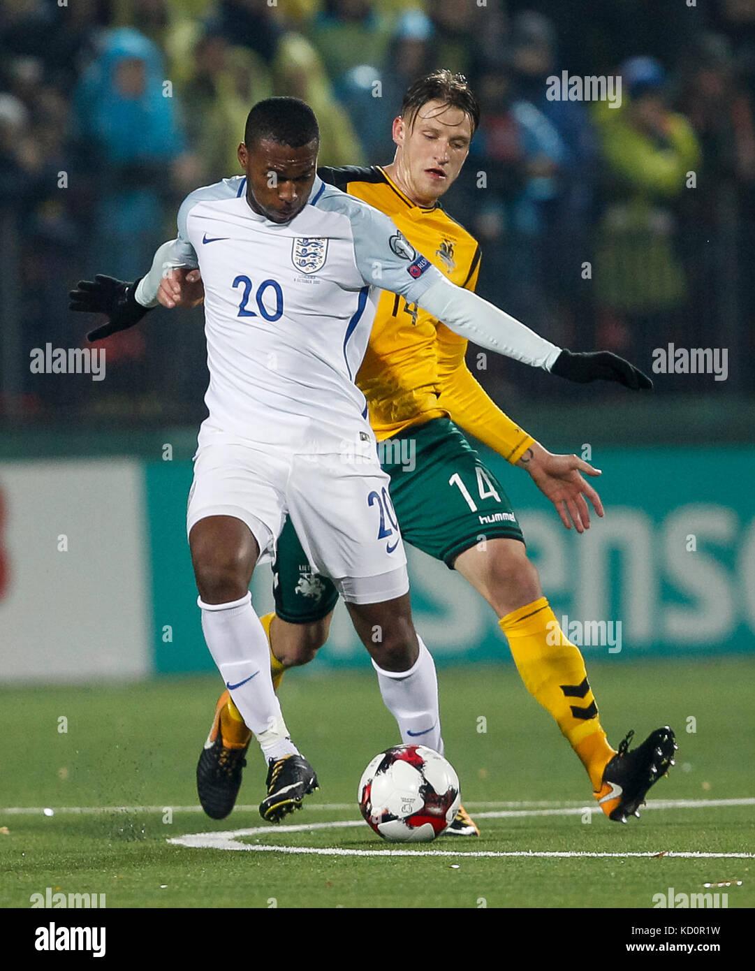 Vilnius, Lithuania. 8th Oct, 2017.  Daniel Sturridge of England and Vykintas Slivka of Lithuania during the FIFA - Stock Image