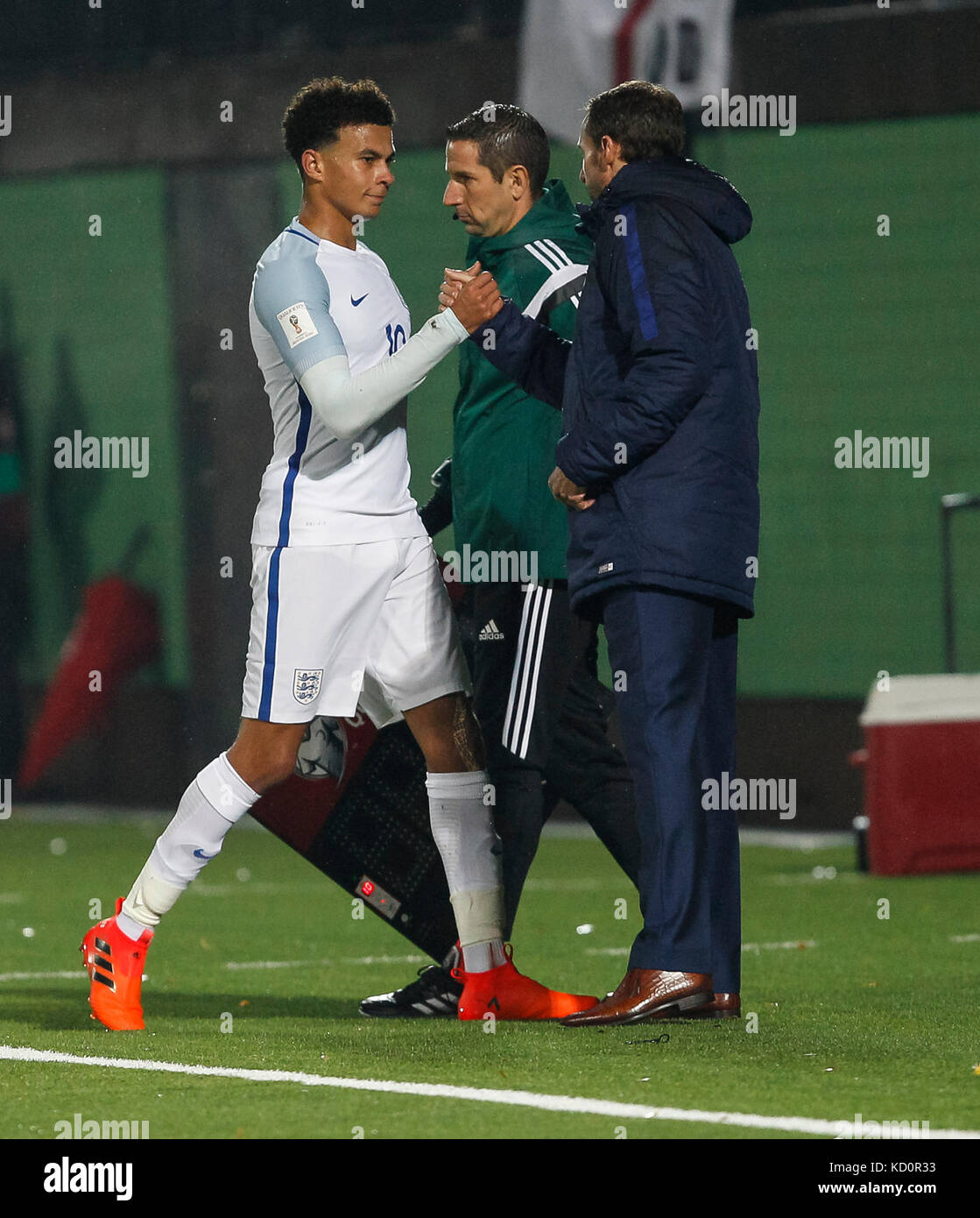 Vilnius, Lithuania. 8th Oct, 2017.  Dele Alli of England and England Manager Gareth Southgate during the FIFA World - Stock Image