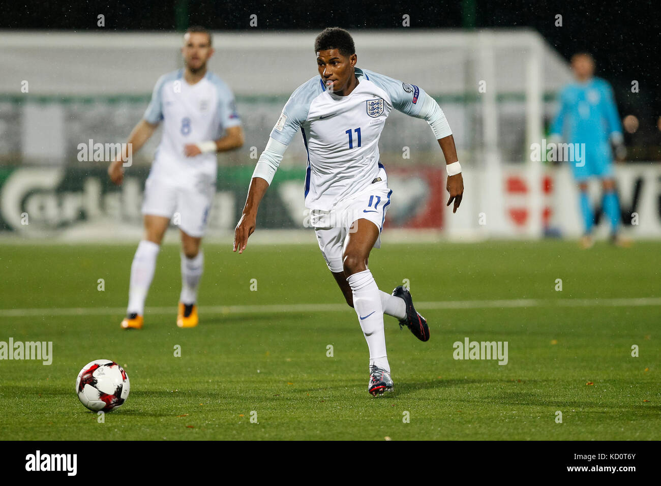 Vilnius, Lithuania. 8th Oct, 2017. Marcus Rashford of England during the FIFA World Cup 2018 Qualifying Group F - Stock Image