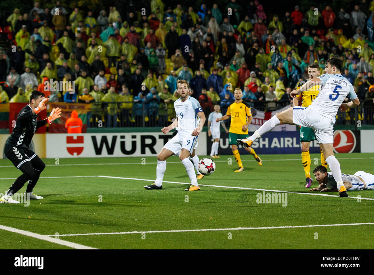 Vilnius, Lithuania. 8th Oct, 2017. Harry Maguire of England has a shot on goal during the FIFA World Cup 2018 Qualifying - Stock Image