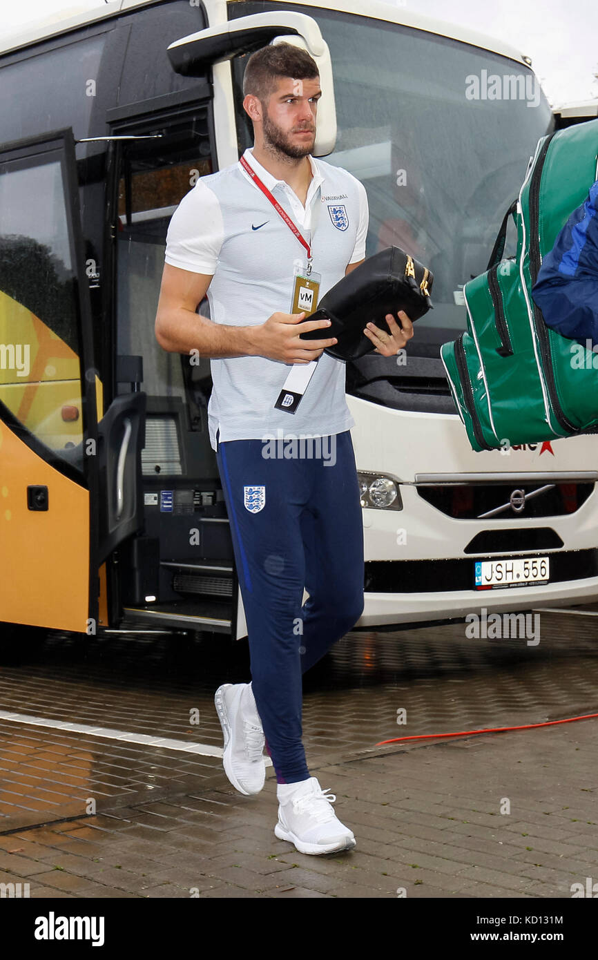 LFF Stadium, Vilnius, Lithuania. 8th October 2017Fraser Forster of England arrives before the FIFA World Cup 2018 - Stock Image