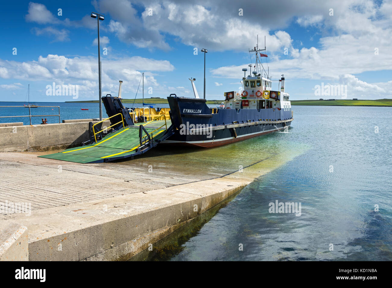 The vehicle ferry the MV Eynhallow at the slipway on  the island of Rousay, Orkney Islands, Scotland, UK. Stock Photo