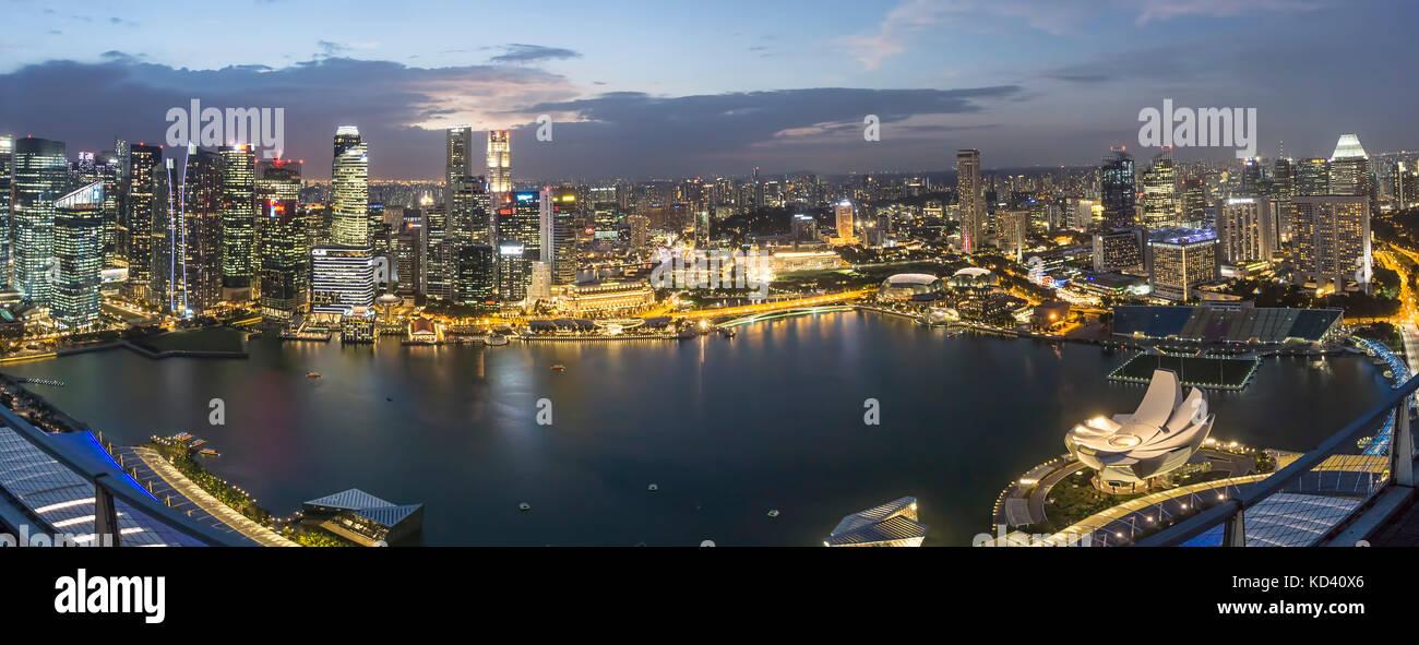 Skyline,  Marina Bay, Singapore, Singapur, Southeast Asia, - Stock Image
