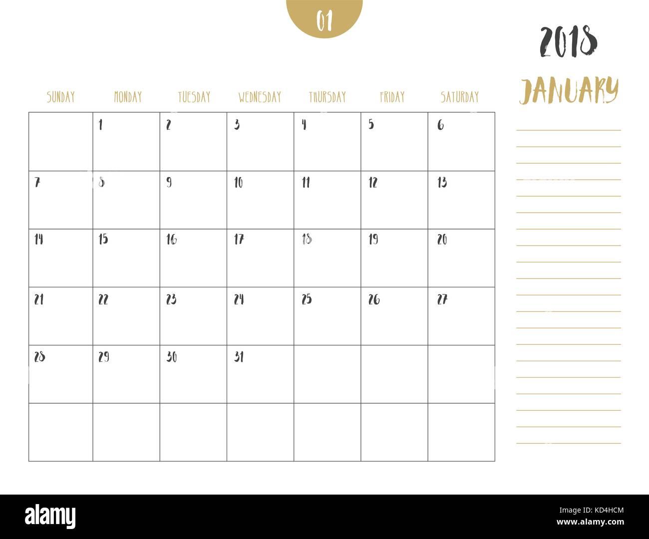 Full Moon Calendar 2018 >> 2018 Calendar Simple Vector Calendar Stock Photos & 2018 Calendar Simple Vector Calendar Stock ...