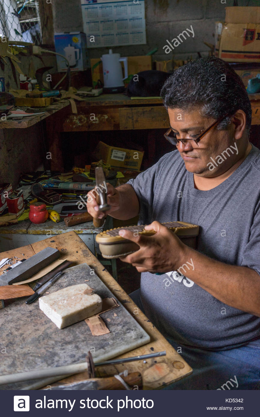 Shoemaker at work in Jinotega, Nicaragua Stock Photo