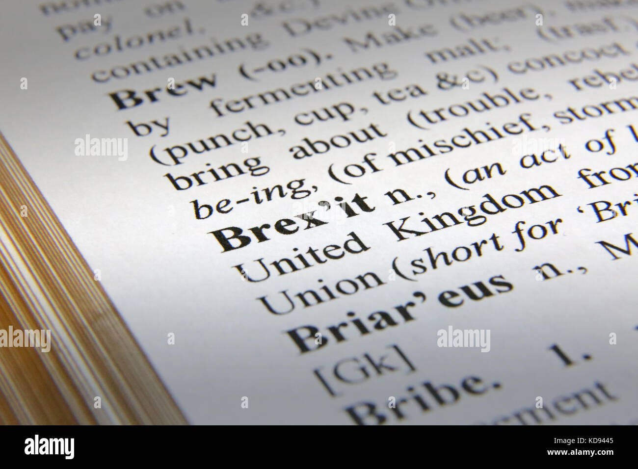 The word Brexit shown as it would appear on a dictionary page (mock-up with genuine definitions - so no third-party - Stock Image