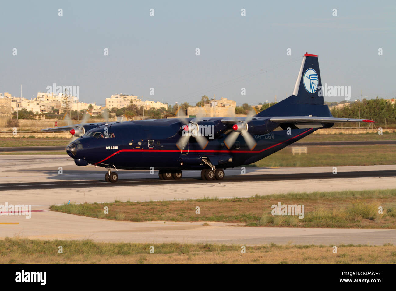 Antonov An-12 turboprop cargo plane operated by Ukraine Air Alliance on arrival in Malta - Stock Image