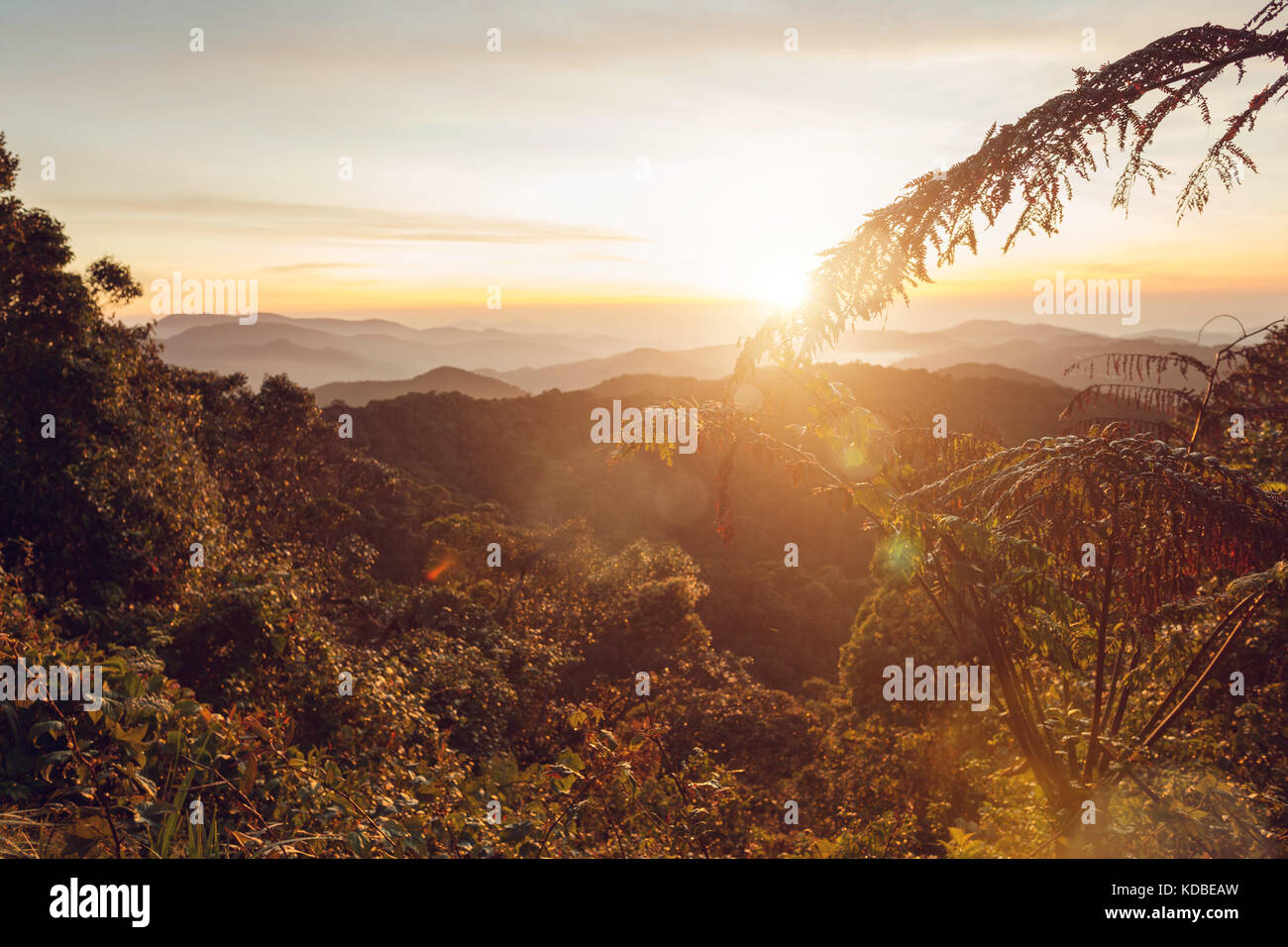 Warm Sunrise in a mountain area in Malaysia - Stock Image