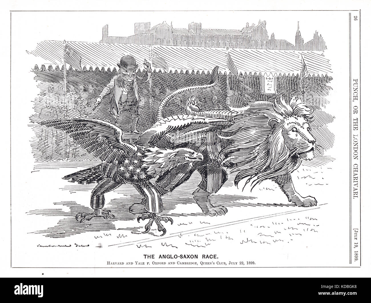 Athletics meeting at Queen's club, 22 July 1899.  Oxford and Cambridge v. Harvard and Yale.universities.  Punch - Stock Image