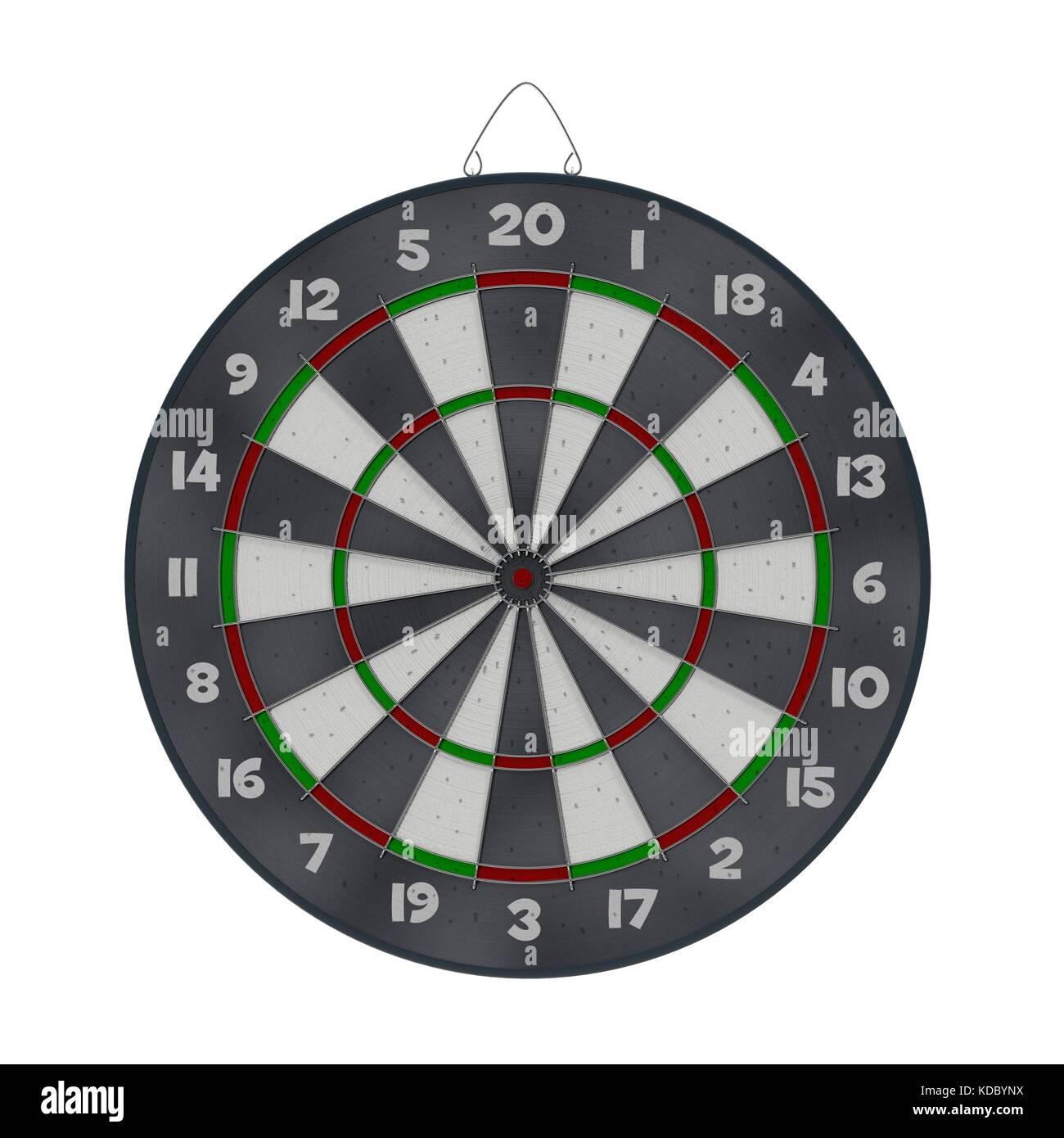 Old target dartboard isolate on white. - Stock Image