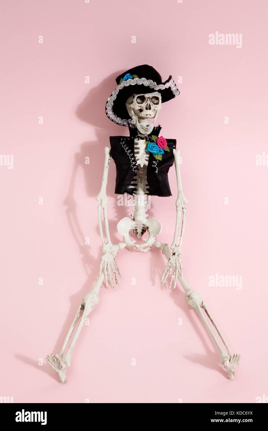 Mexican skeleton celebrating el dia de los muertos on a vibrant pop background. Minimal color still life photographyf.asMinimal - Stock Image