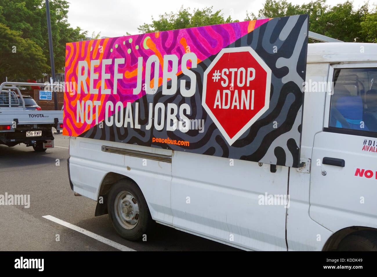 Stop Adani placard on passing van, Cairns, Queensland, Australia. No PR - Stock Image