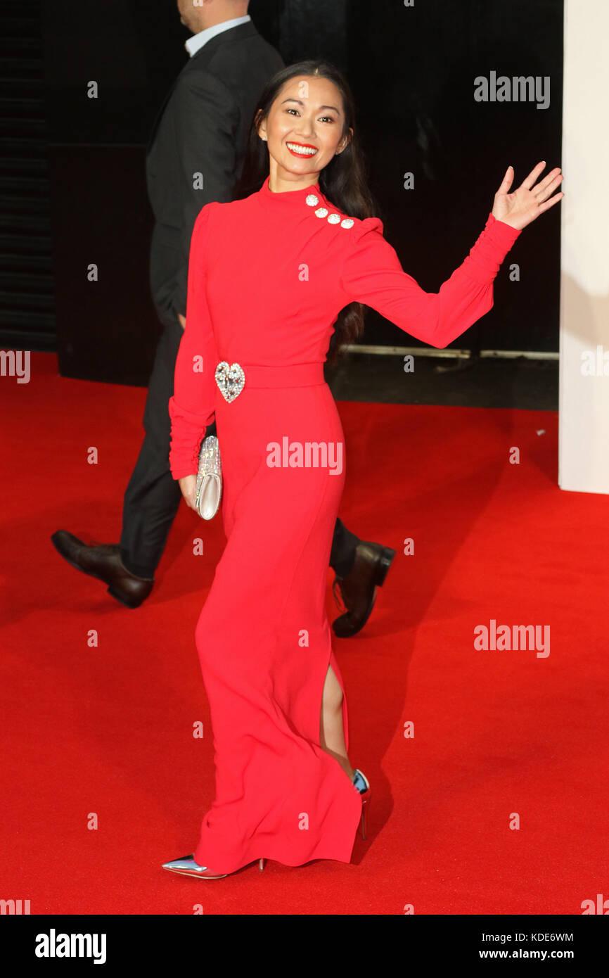 London, UK. 13th Oct, 2017. Hong Chau, Downsizing - BFI LFF UK premiere, Leicester Square, London UK, 13 October - Stock Image