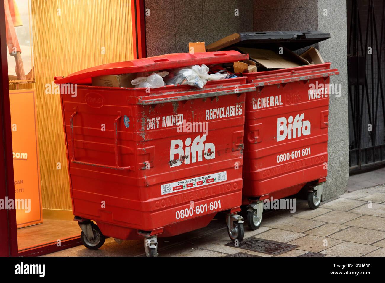 biffa bins bin collection rubbish waste management dumpster trash - Stock Image
