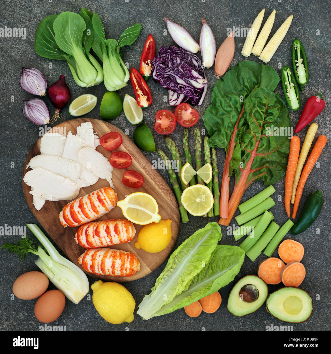 Diet health food concept with high protein meat and fish, vegetables, fruit, and dairy. Superfoods high in omega - Stock Image