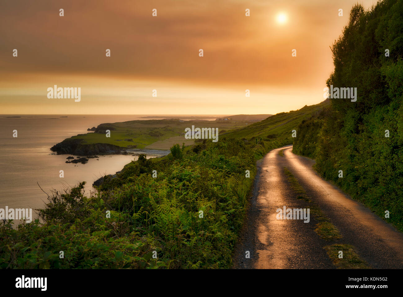 Sky Road at sunset. Near Clifden, Ireland. County Galway, Connemara - Stock Image