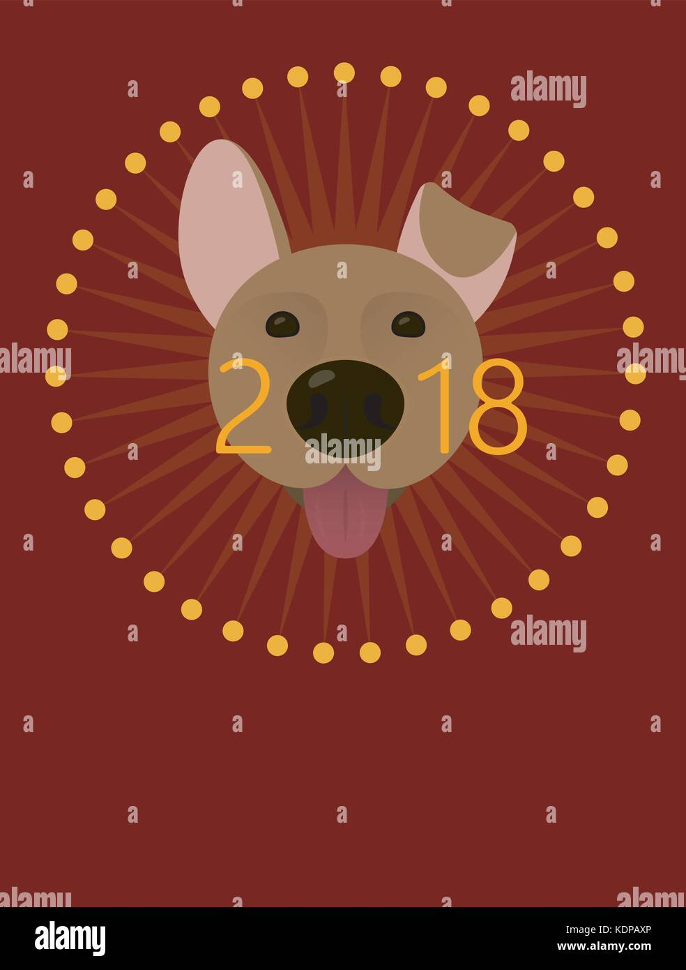 2018 happy new year greeting card poster celebration background with dog 2018 chinese new year of the dog vector illustration
