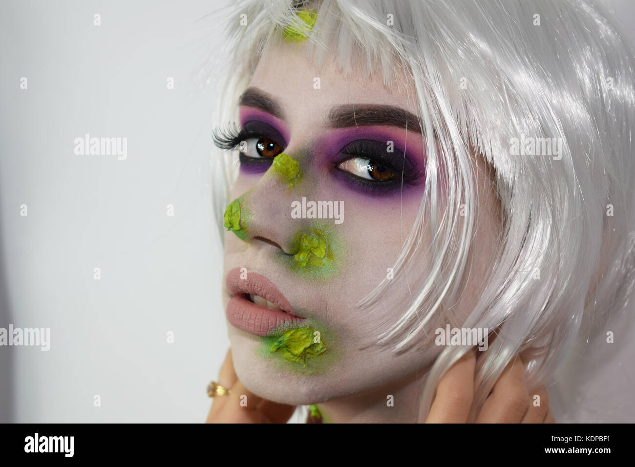 Halloween white and green witch makeup