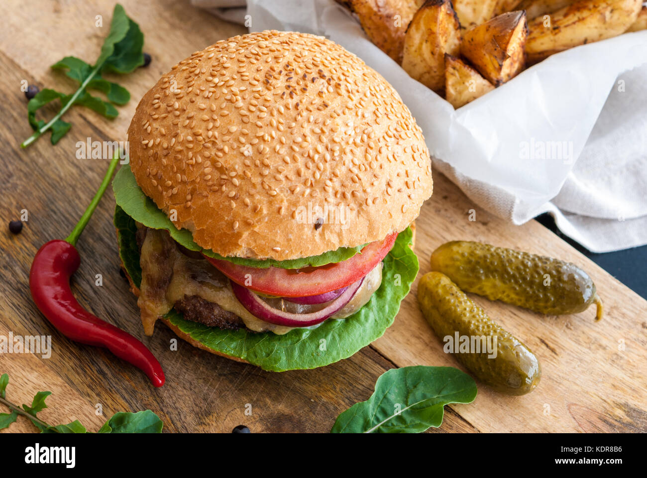 Tasty burger ready to eat - Stock Image
