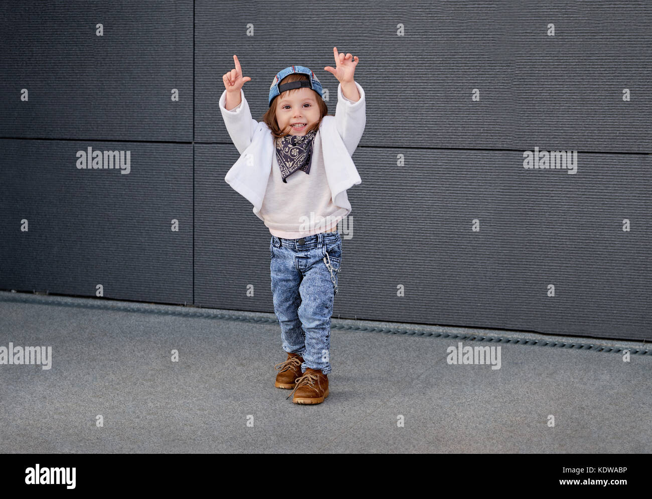1df40029b fashion baby girl hip hop.Portrait of a cute little girl in Stock ...
