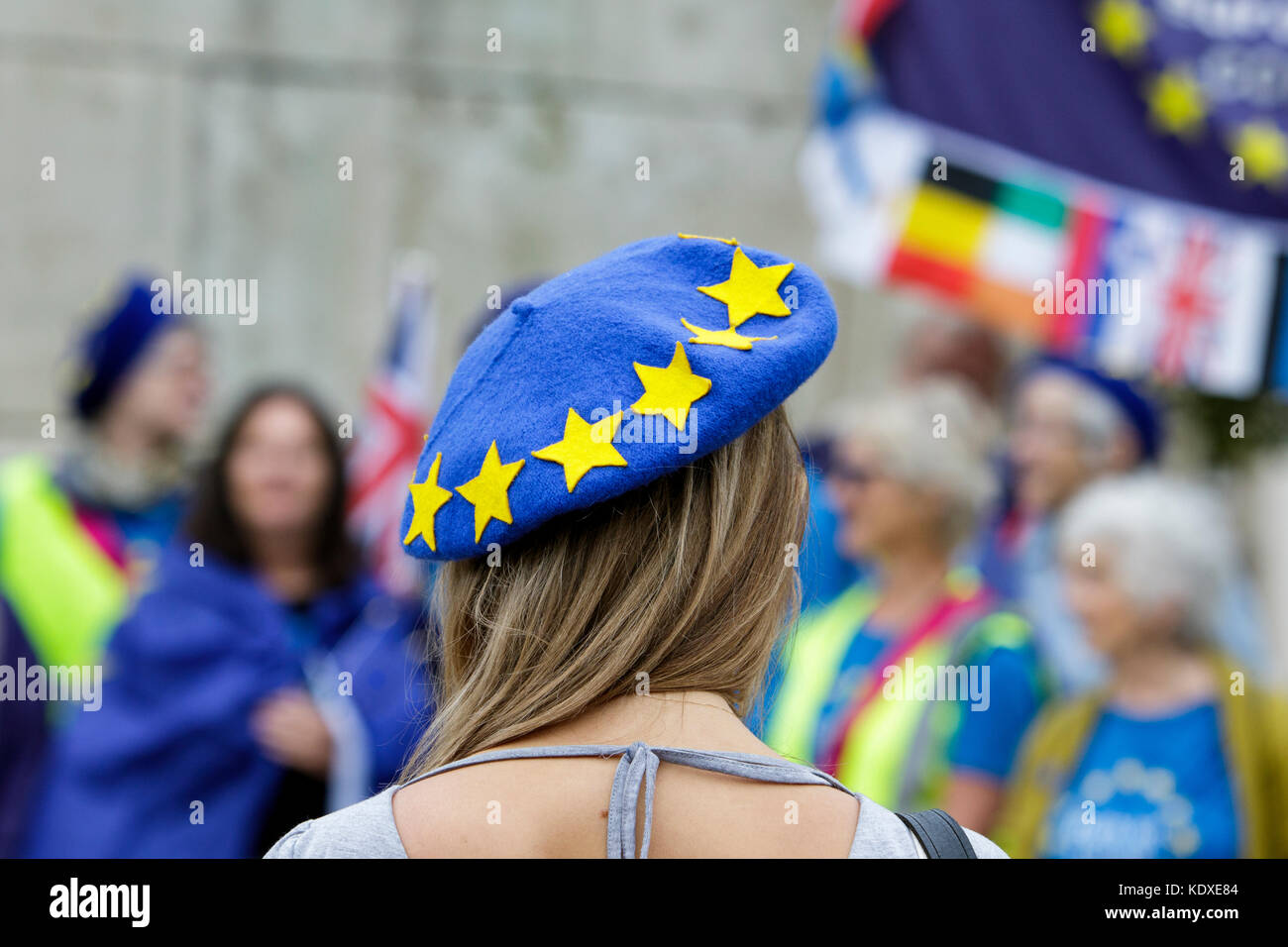 A Pro EU supporter wearing a Bath EU beret is pictured as she joins other Pro EU supporters at an anti Brexit protest Stock Photo
