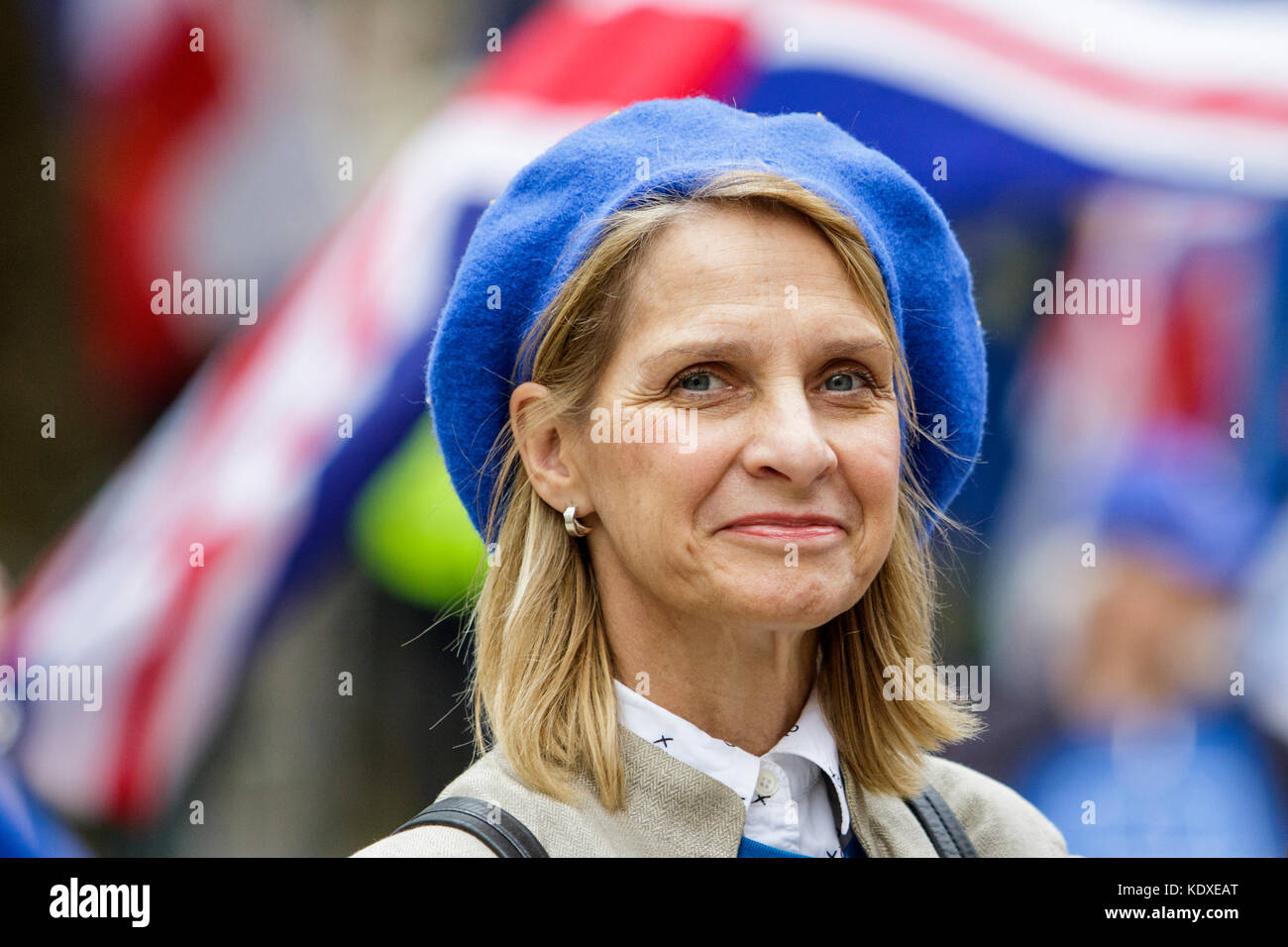 Wera Hobhouse Liberal Democrat MP for Bath is pictured as she talks to Pro EU supporters at a anti Brexit protest Stock Photo