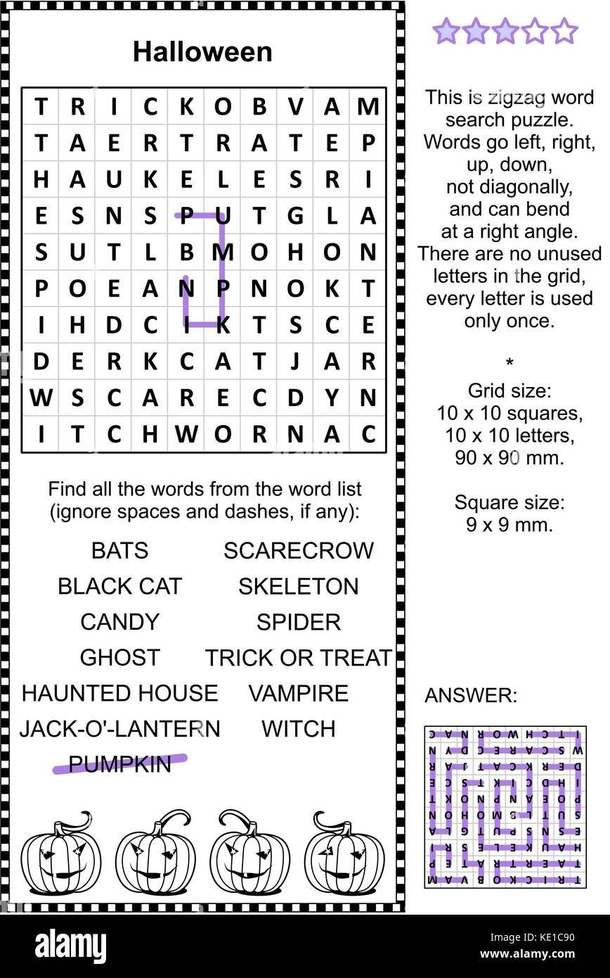 Halloween holiday themed zigzag word search puzzle (suitable both for kids and adults). Answer included. - Stock Image